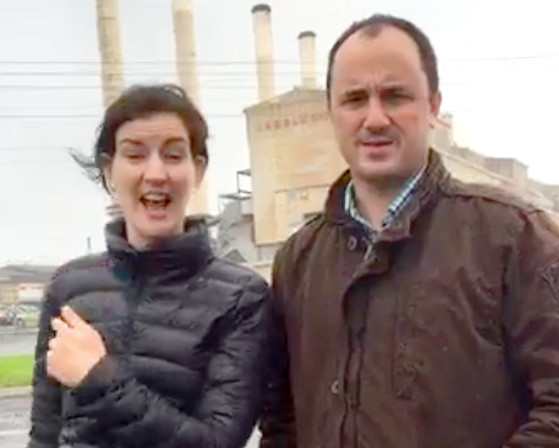 Ellen Sandell and Jeremy Buckingham at Hazelwood Power Station today. Image via Facebook Live.